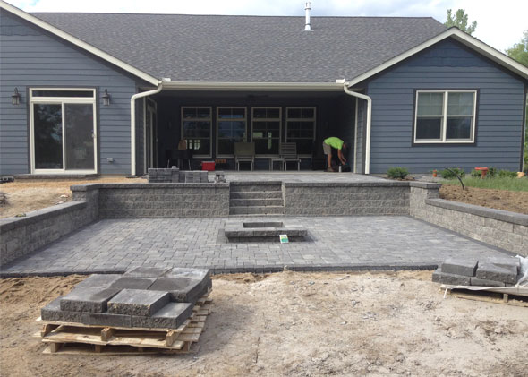 During installation of Patio and Fire Pit