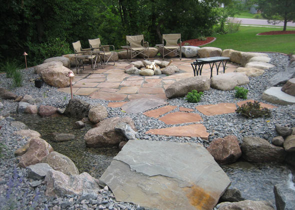 Stone firepit in patio