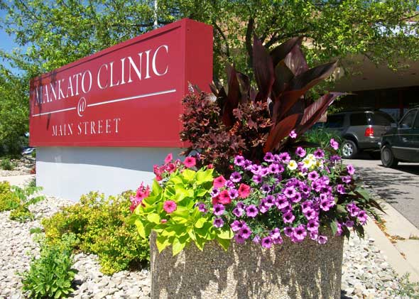 Mankato Clinic with seasonal flowers and plants