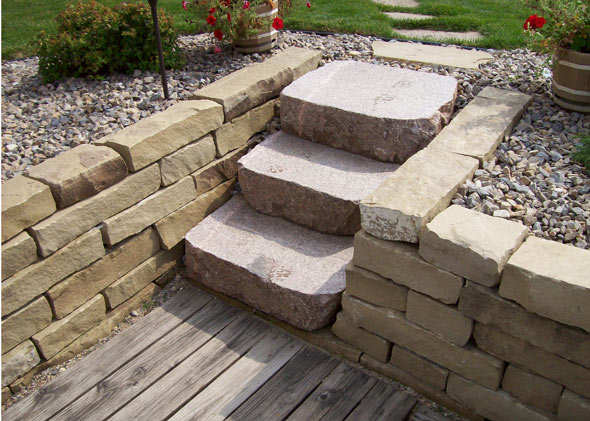 Stone slab stairs that add character to veranda