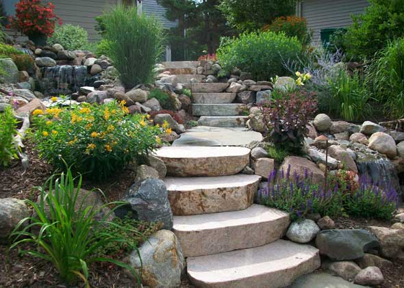 Professionally cut and placed steps through tierred garden