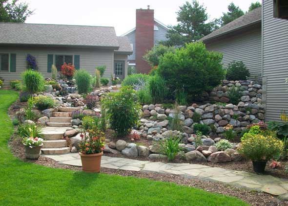 Stone garden for uneven yards